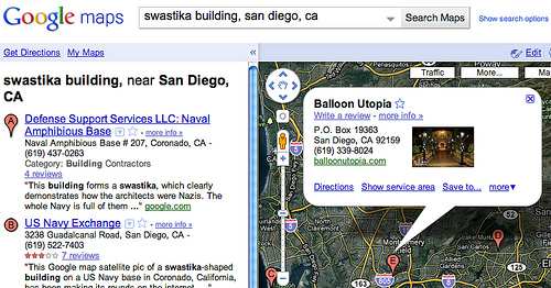 "or ""swastika building"" in Google Maps in San Diego, this man's Balloon"