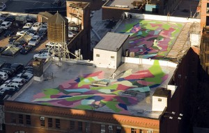 Rooftop Mural at 547 W 27th St, New York, NY, by Molly Dilworth