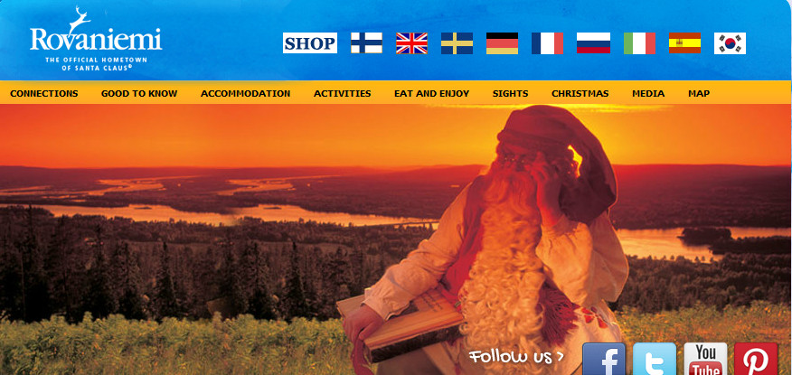 Rovaniemi's tourism website - home of Santa Clause