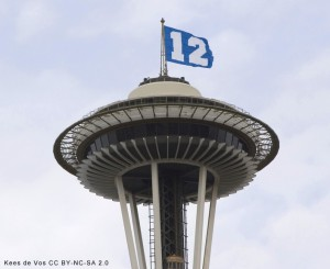 The 12th Man Flag, flying above Seattle's Space Needle