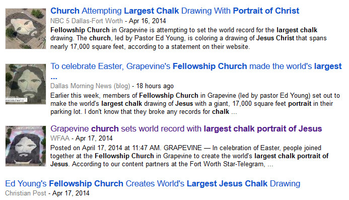 News coverage of the Fellowship Church skyvertisement publicity stunt. Source: Google News results.