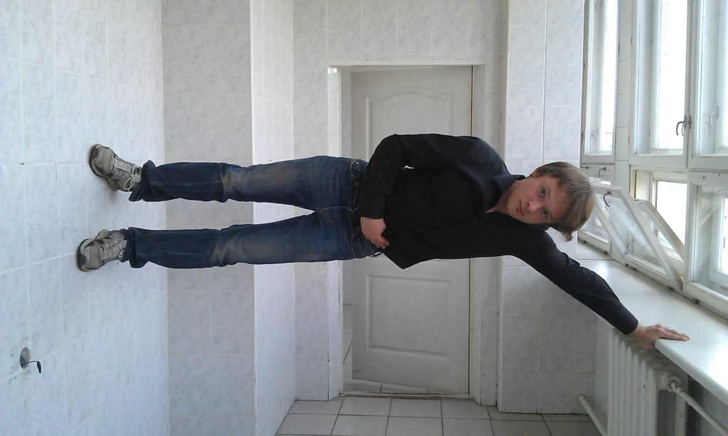 Mike, doing a sort of planking pose in a hallway in Ukraine, I think maybe in the building where he launched his company.
