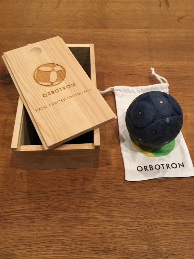 Orbotron with laser etched wood box and printed sack.