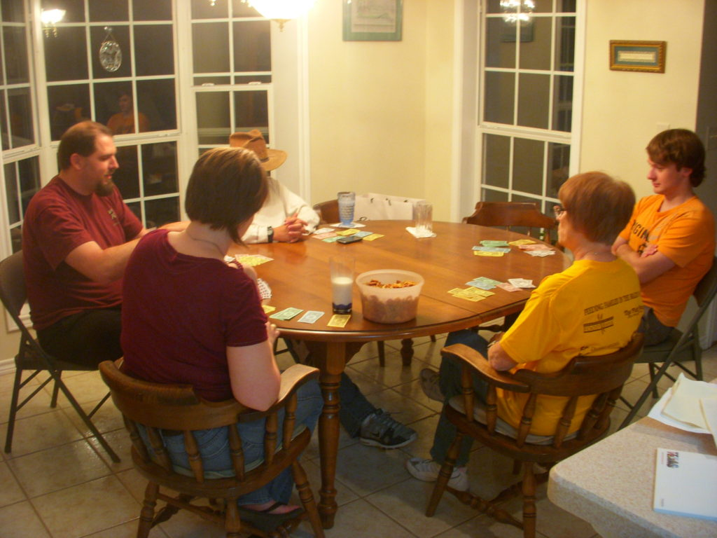 Playing games with the family at Thanksgiving.