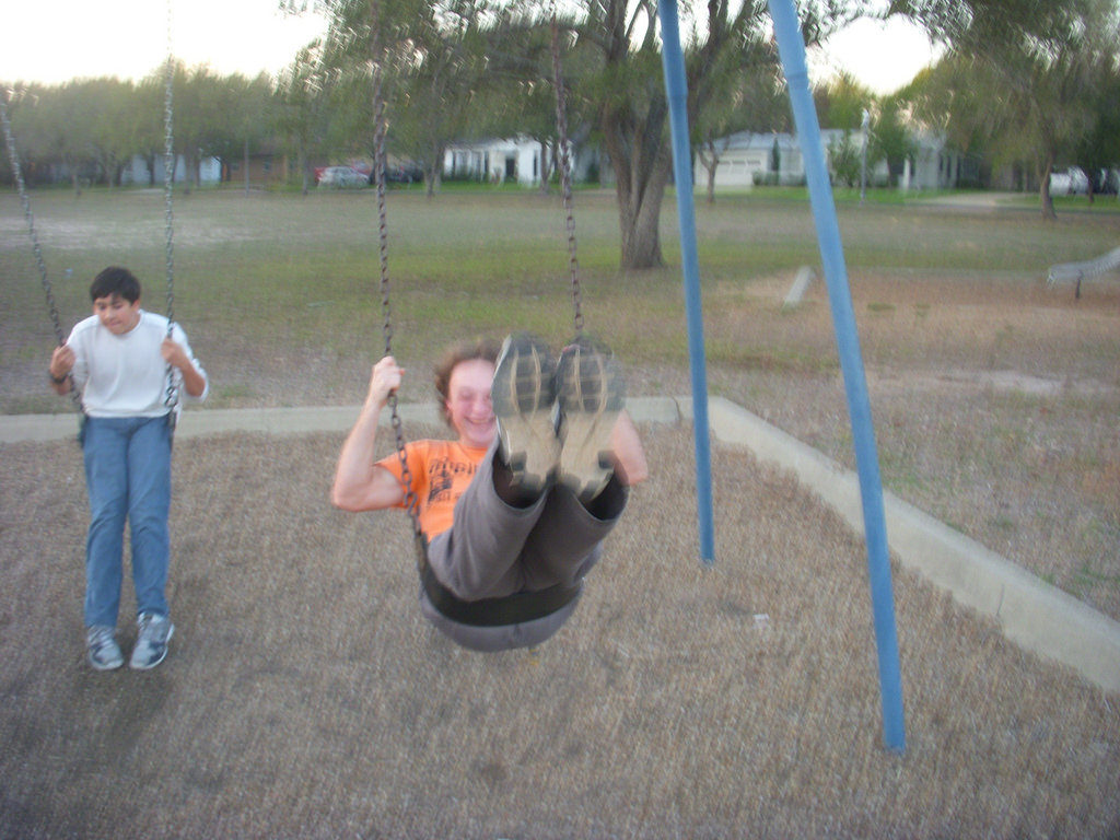 Mike, swinging at the park with my nephew.