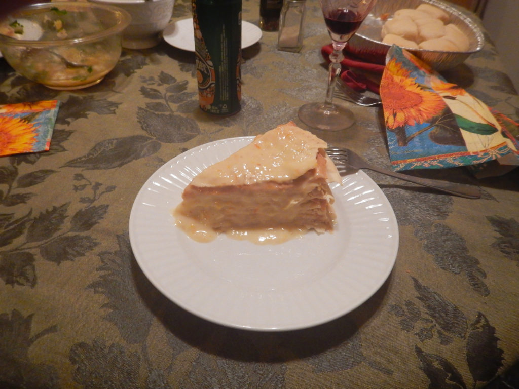 A slice of the Gâteau Mille Crêpe cake that Mike made for his father, Vlad's, birthday. Mike's creativity knew no bounds.