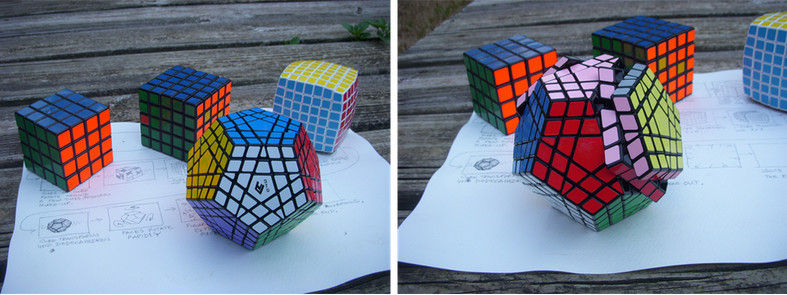 A few of my Rubik's Cube type puzzles that I loaned Mike to use as guides for creating the 3D modeling.