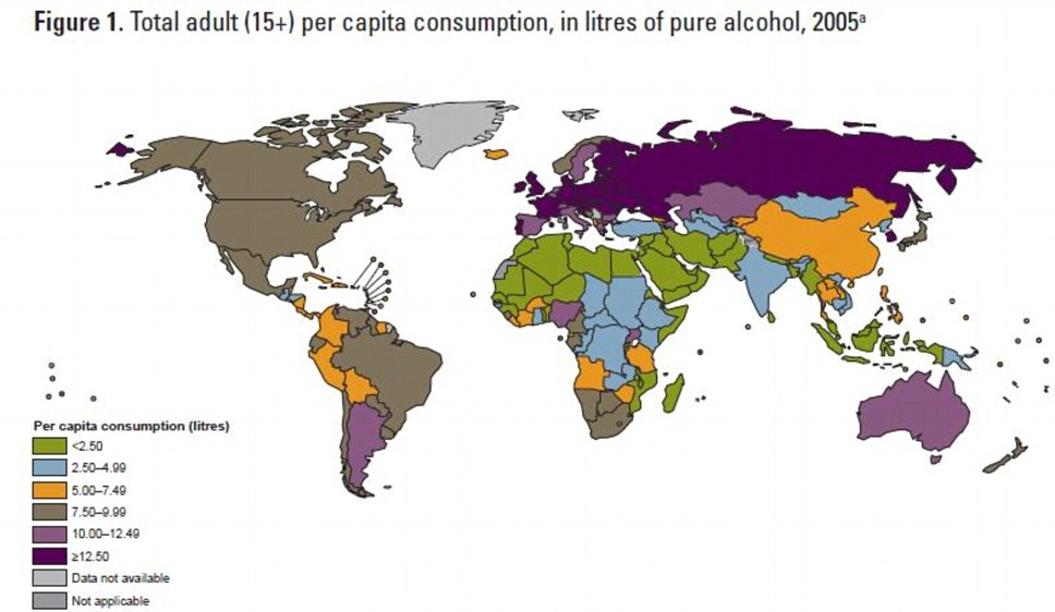 Map comparing levels of alcohol consumption by countries. Extremely high volumes of average consumption likely correlate with alcoholism.