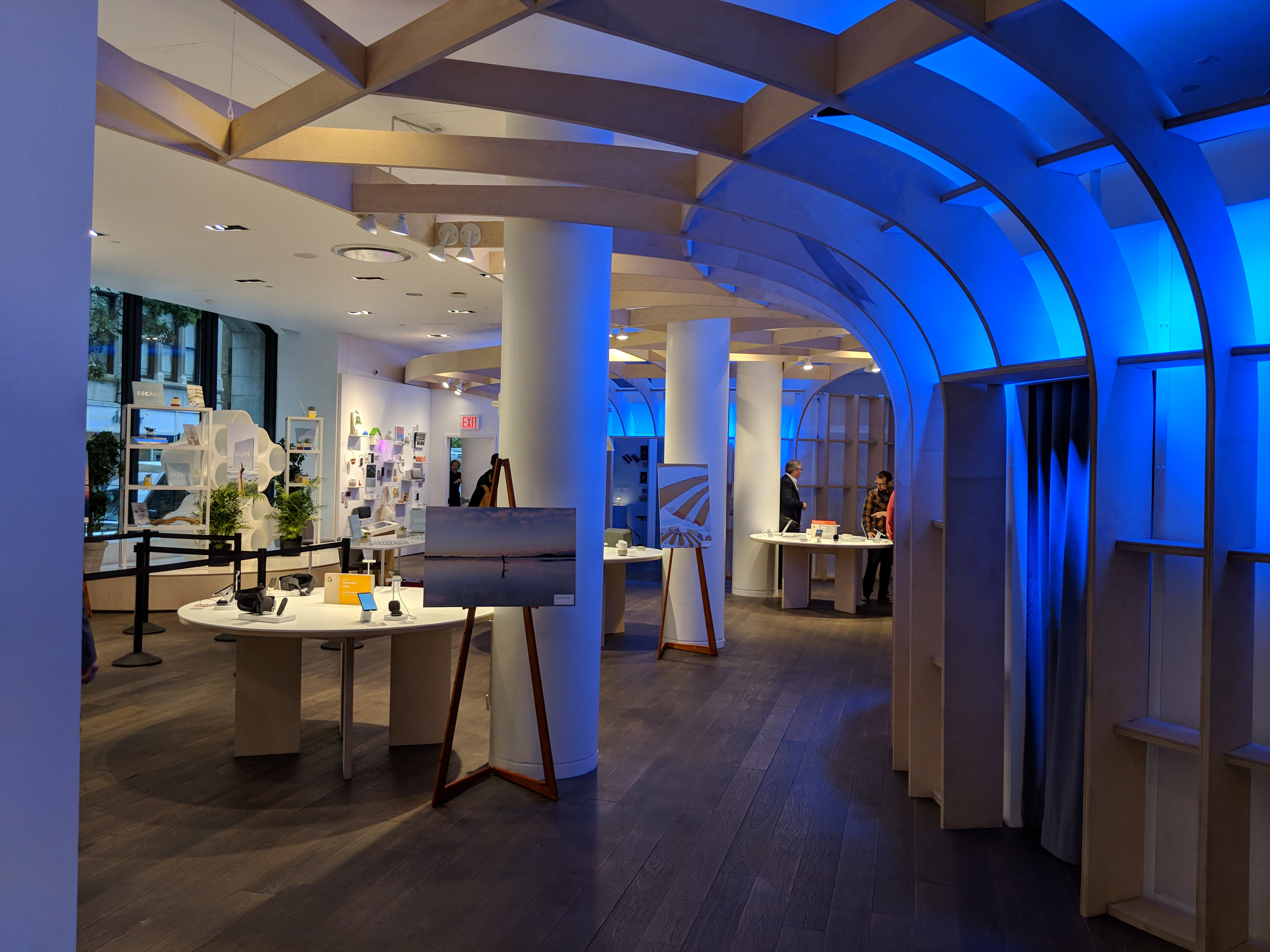 The interior of Google's futuristic popup store in New York City's Flatiron district.